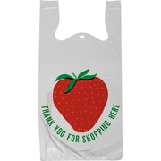 Staples Pre-Printed T-shirt Bags, 'Thank You for Shopping Here' Strawberry (695967)