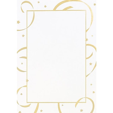 Gold Stars & Streamers Flat Card Invitations with Envelopes