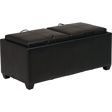 Office Star  Metro Storage Bench with Dual Trays