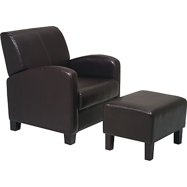 OSP Designs® Faux Leather Club Chair w/ Ottoman, Espresso