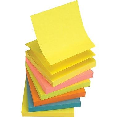 Staples® Stickies 3in. x 3in. Assorted Bright Pop-Up Notes, 6/Pack