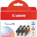 Canon CLI-8 Color C/M/Y Ink Cartridges (0621B016), 3/Pack