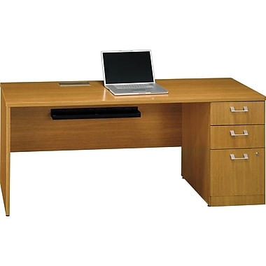 Bush Quantum 72in.W x 24in.D RH Single Ped Credenza, Modern Cherry, Installed
