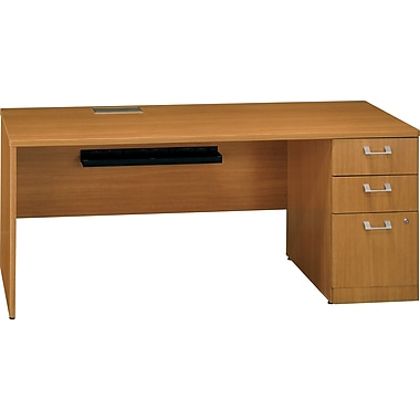 Bush Quantum 72in.W RH Single Pedestal Credenza, Modern Cherry
