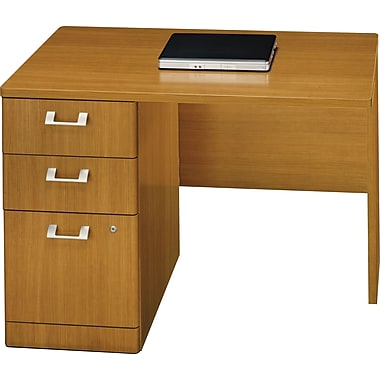 Bush Quantum Series 42in. Left Return With Pedestal, Modern Cherry