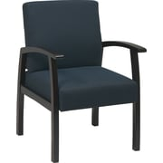 Office Star™ Blue Fabric with Mahogany Wood Guest Chair