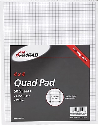 Ampad Efficiency Graph Pad 8 1 2 x 11 4 x 4 Quadrille Ruled White 50 Sheets Each 22 030