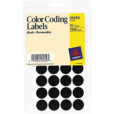 Avery Removable Self-Adhesive Color-Coding Round Labels, 28 Labels Per Sheet, Black, 3/4in. Diameter, 1,000 Labels/Pk
