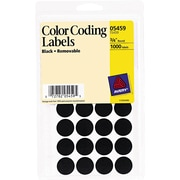 "Avery Removable Self-Adhesive Color-Coding Round Labels, 28 Labels Per Sheet, Black, 3/4"" Diameter, 1,000 Labels/Pk"