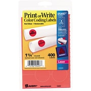 "Avery  05497 Print Or Write Removable Color-Coding Label, Neon Red, 1 1/4""(Dia), 400/Pack"