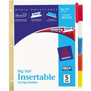 Avery(R) WorkSaver(R) Big Tab(TM) Insertable Dividers 11121, 5-Tab Set