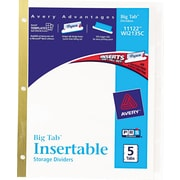 Avery(R) WorkSaver(R) Big Tab(TM) Insertable Dividers 11122, 5-Tab Set