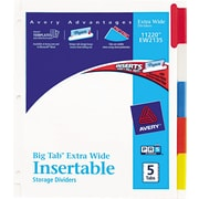 Avery(R) WorkSaver(R) Big Tab(TM) Insertable Dividers 11220, 5-Tab Set