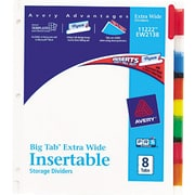 "Avery® Big Tab™ Extra Wide Insertable Dividers, 8-Tab, Multicolor, 9 1/4"" x 11 1/8"", 1/St"