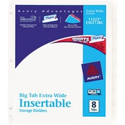 "Avery® Extra-Wide Big Tab™ Insertable Dividers with White Paper, 8 Tab, Clear, 9 1/4"" x 11 1/8"", 1/St"