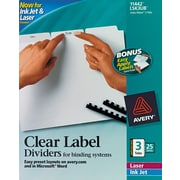 "Avery® Index Maker® Clear Label Unpunched Dividers, 3 Tab, White, 8 1/2"" x 11"", 25 Sets/Bx"