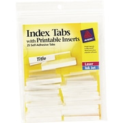 "Self-Adhesive Plastic Tabs and Laser Printable Inserts, 1-1/2"", Clear, 25/Pack"
