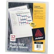 "Avery Clear Plastic Sleeve, Heavyweight, Letter, 11"" x 8 1/2"", 1 Dozen"
