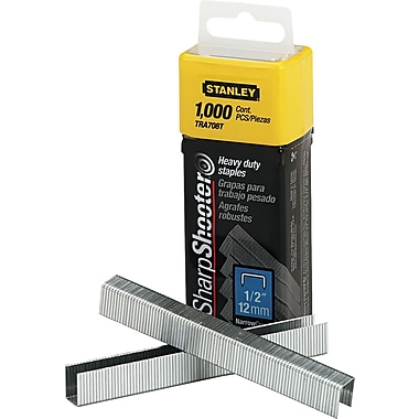 Stanley Bostitch SharpShooter™ Heavy Duty Tacker Staples, 1/2in. Leg Length, 1,000/Bx