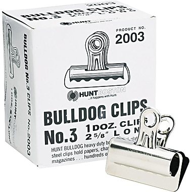 X-Acto #3 Bulldog Clips, 2 5/8in. Wide, Silver Chrome, 12/Bx