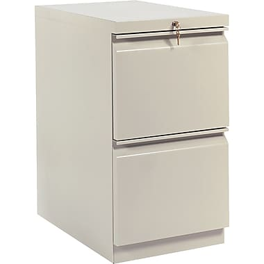 HON Brigade™Series Vertical Mobile File Cabinet with in.Rin. Pull, 23in. 2 Drawer, Letter Size, Putty