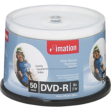 Imation Thermal Printable DVD-R Discs, 4.7GB, 16x, Spindle, 50/Pack
