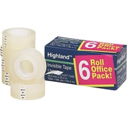 "Highland Invisible Tape, 1"" Core, 3/4"" x 1,296"", 6/Pk"