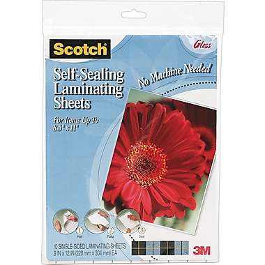 Scotch 6.9 Mil Self-Adhesive Laminating Pouches, Letter Size, 10 Pack