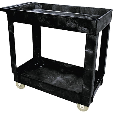 Rubbermaid Black Service/Utility Cart, 31in.H x 16in.W x 34in.D