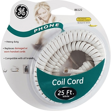 GE 25' Coil Phone Cord (White)