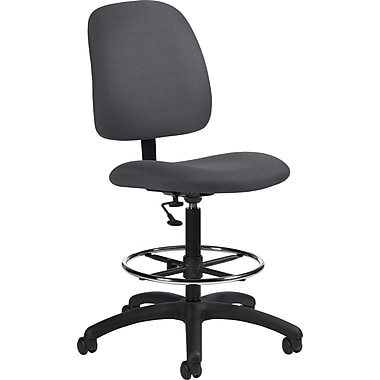 Global Low-Back Fabric Drafting Chair, Armless, Gray