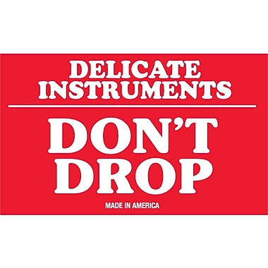 Tape Logic Delicate Instruments - Do Not Drop Staples® Shipping Label, 3in. x 5in., 500/Roll