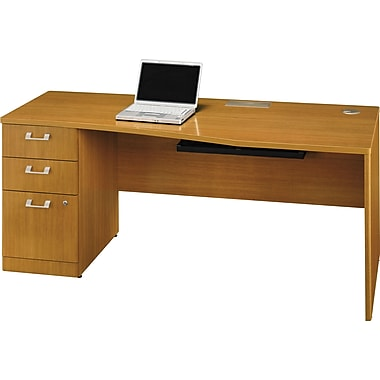 Bush Quantum 72in.W LH Single Pedestal Desk (B/B/F), Modern Cherry, Fully Assembled