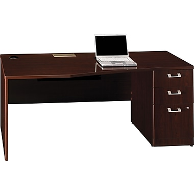 Bush Quantum Series Fully Assembled 72in. Right-Hand Desk with Pedestal, Harvest Cherry