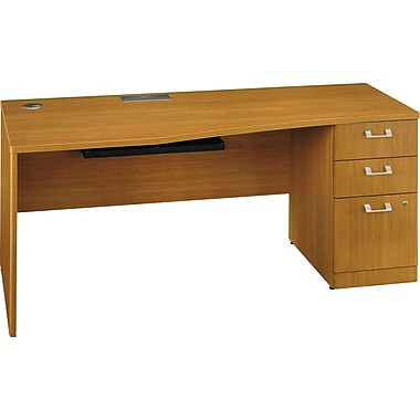 Bush Quantum 72in.W RH Single Pedestal Desk (B/B/F), Modern Cherry, Fully Assembled