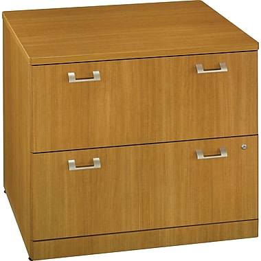 Bush Quantum 36in.W 2-Drawer Lateral File, Modern Cherry, Fully Assembled