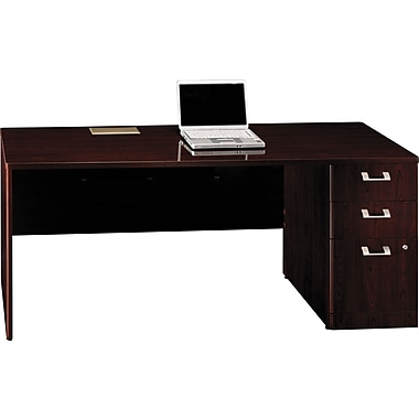 Bush Quantum 72in.W RH Single Pedestal Credenza, Harvest Cherry, Fully Assembled