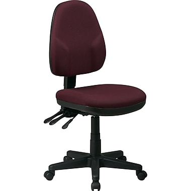 Office Star Fabric Ergonomic Armless Task Chair, Burgundy