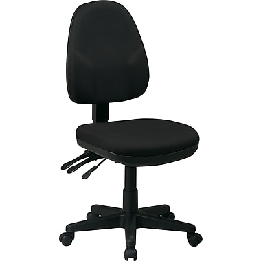 Office Star Fabric Ergonomic Armless Task Chair, Black