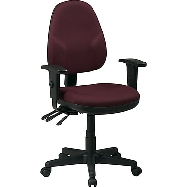 Office Star Ergonomic Fabric Task Chair with Adjustable Arms, Burgundy