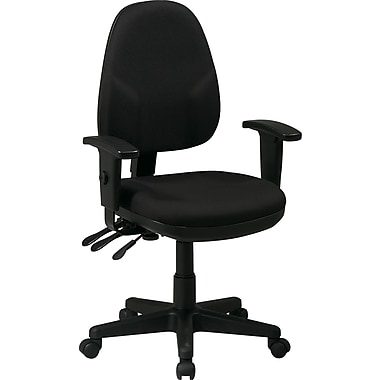 Office Star Ergonomic Fabric Task Chair with Adjustable Arms, Black