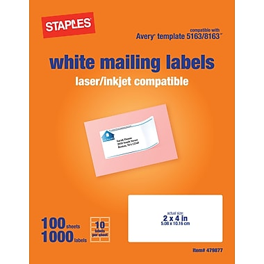 Staples® White Inkjet/Laser Shipping Labels