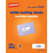 Staples® White Inkjet/Laser Address Labels