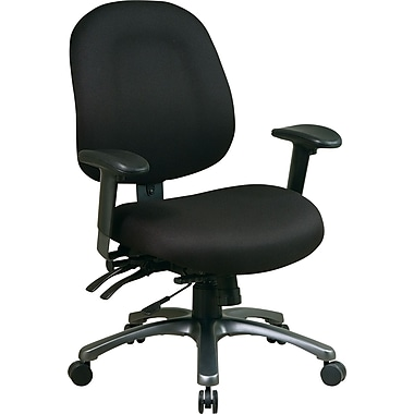 Office Star Pro-Line II Mid-Back Fabric Task Chair, Adjustable Arms, Black