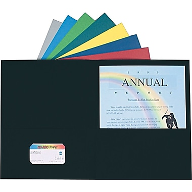 Staples® Twin-Pocket Portfolio, Dark Blue, 10/Pack