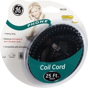 GE 25' Coil Phone Cord (Black)
