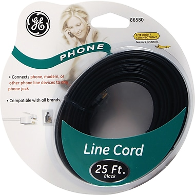 GE 25' Line Phone Cord (Black)