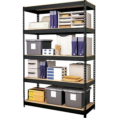 Hirsh Heavy-Duty Riveted Boltless Steel Shelving, 5 Shelves,  Black, 72in.H x 48in.W x 18in.D