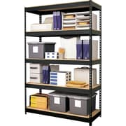 Hirsh Heavy-Duty Riveted Boltless Steel Shelving, 5 Shelves,  Black, 72H x 48W x 18D