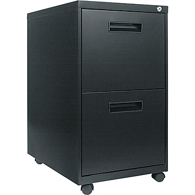 Alera 23in. Deep, 2  Drawer Mobile Vertical File Cabinet, Black